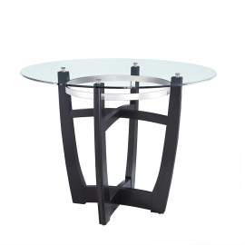"42"" Round Glass Top High bar table with Solid Wood Base"