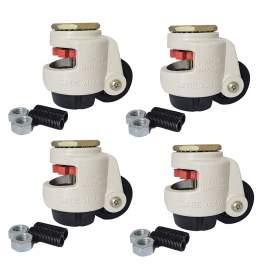 "4pcs 100S Stem Retractable Leveling Caster  2-4/5"" Plate 1650lbs Nylon"