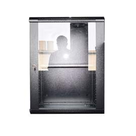 """15U 23.6""""*23.6"""" Wall Mounted Cabinet With 2fans And 1shelf Glass Door"""