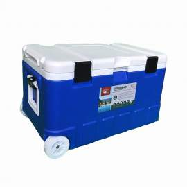 79Qt Blue Ice Chest Cooler with Wheels White Inner Box White Lid