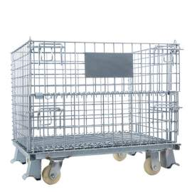 """Foldable Metal Wire Container 40""""L x 32""""W x 34""""H 2800 Lb, 4 Casters"""