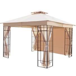 Lowell 10 x 10 Ft Gazebo Double Tiered Canopy Tent Steel Frame (Beige)