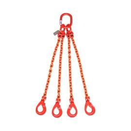 "4 Leg Chain Sling 3/8"" x 6' Self-Locking Hooks Grade 80, 2400lb WLL"