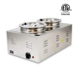 Food Warmer Full Size SS With 2 Round Soup Pots,120V 1200W