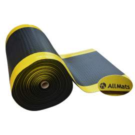 "Anti-fatigue Mat Diamond Plate 4 ft x60 ft Thick 1/2"" Black Yellow"