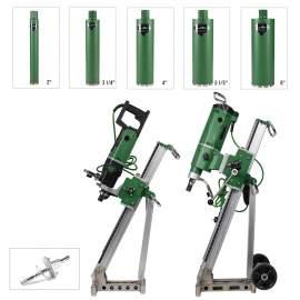 Concrete Core Drill 2x motors 2x Rigs with 5x Bore Bits & Anchor Set