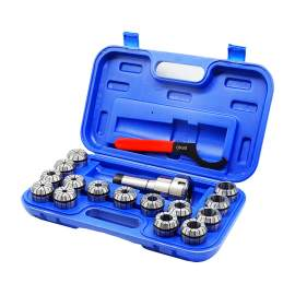 """5C Shank ER40 Chuck with 15 pc Collet Set, 1/8"""" - 1"""" by 16th"""