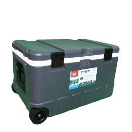 17pcs 79Qt Grey Ice Chest Cooler with Wheels White Inner Box Grey Lid