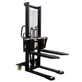 "Hydraulic Stacker Lift Truck 3300 LB. Cap. 63"" Lift with Adj. Forks"
