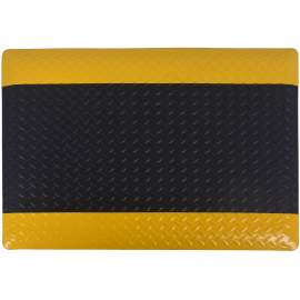 "Anti-fatigue Mat Diamond Plate 3 ft x5 ft Thick 9/16"" Black Yellow"