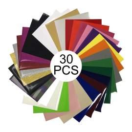 "10"" x 12"" Glitter PU Reflective Glow HTV Sheet 30 Colors Heat Transfer"