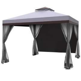 Ocala 10 x 10 Ft Gazebo Double Tier Patio Canopy Steel Frame(Grey)