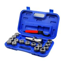 """CAT40 Shank ER40 Chuck with 15 pc Collet Set, 1/8"""" - 1"""" by 16th"""