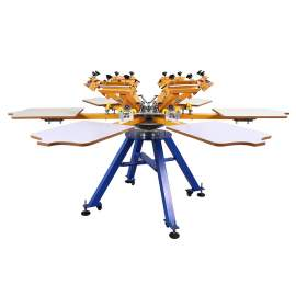 Double Rotary Manual 6 Color 6 Stations Screen Printing Machine
