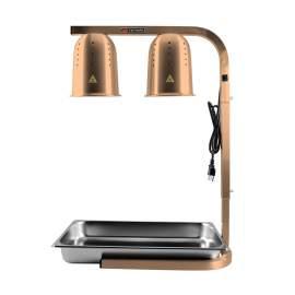 Commercial Food Warmer Heat Lamp W/ 2 Bulbs &SS Pan Free Standing