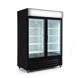 """54 1/8"""" Black Double Swing Glass Door Merchandiser Freezer  48 Cu.ft."""