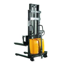 "Semi-Electric & Hand Pump Lift Stacker 3300 LB. 118"" Lift Adj. Forks"