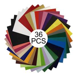 """36 Colors PU Heat Transfer Vinyl 10"""" x 12"""" Sheet Easy To Weed and Cut"""