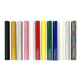 """12"""" x 5ft 12 Rolls Glitter PU Reflective Glow Heat Transfer VinylRoll"""