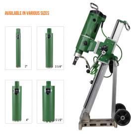 Concrete Core Drill Motor 3300W & Drill Rig With 4x Wet Drill Bits