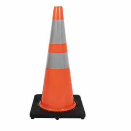 "28"" Economy Portable PVC Orange Traffic Cone With Black Base"