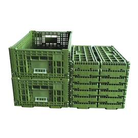 """9 pieces 41 Liter Collapsible Crate Olive 23.62"""" x 15.75"""" x 8.7"""""""