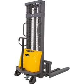"""Semi Electric lift Stacker with 3300lbs 118"""" High  Adj Forks"""