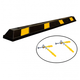 Rubber Parking Curb Stop 72''L x 6''W x 4''H Black With Yellow Stripes