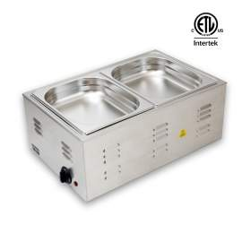 """Commercial Countertop Food Warmer With 2 x 1/2"""" Steam Pans 4"""" Deep"""