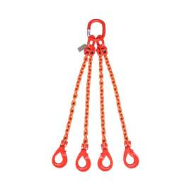 "4 Leg Chain Sling w/Self-Locking Hooks 3/8"" x 3' Grade 80, 6900lb WLL"