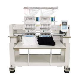 Two Heads Computerized Embroidery Machine 15 Needles Multifunction Flat T-shirts Cap Garments Shoes 15.7 x17.7 in.