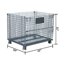 """Folding Wire Container 32 x 20 x 21"""" 1000 Lb Capacity no casters"""