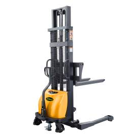 """Semi-Electric Straddle Stacker 118"""" Lift 2200lbs with Adj. Forks"""