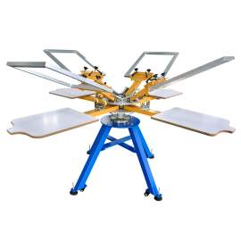 4 Color 4 Station Manual Screen Printing Machine With Frames