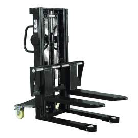 "Hydraulic Stacker Lift Truck 3300 LB. Cap. 98"" Lift with Adj. Forks"