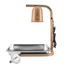 Golden Food Warmer Heat Lamp W/ 1 Infrared Bulb &SS Pan Free Standing