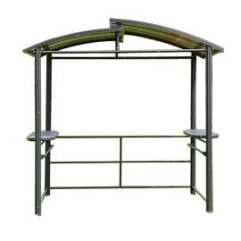Steel Hardtop BBQ Gazebo with Serving Tables 8 x 5 x 8 Ft Grill Gazebo