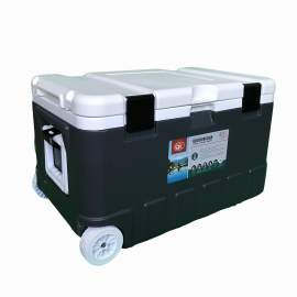 79Qt Grey Ice Chest Cooler with Wheels White Inner Box White Lid