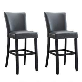 Height Chairs Bar Stool with Solid Wood Leg Grey (2pcs)