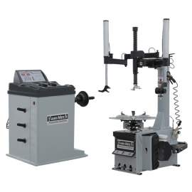 Swing Arm Tire Changer with Double Helper Arms Wheel Balancer Combo