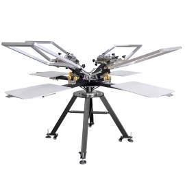 Micro Adjustable 4 Color 4 Station Screen Printing Machine With Frames